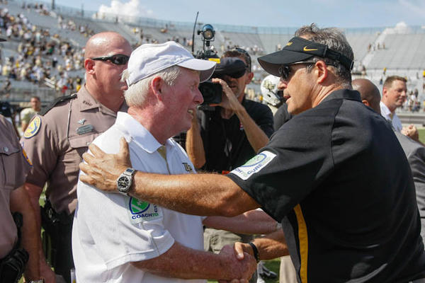 University of Central Florida coach George O'Leary and Missouri coach Gary Pinkel shake hands at the end a non conference football game at the Brighthouse Networks Stadium on Saturday, September 29, 2012 in Orlando, FL. UCF lost 16-21 to Missouri.