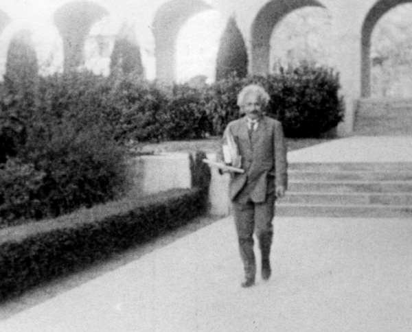 Albert Einstein on the Caltech campus in Pasadena. The university is home to the Einstein Papers Project, which just released the 13th volume of the Nobel Prize-winning scholar's papers.