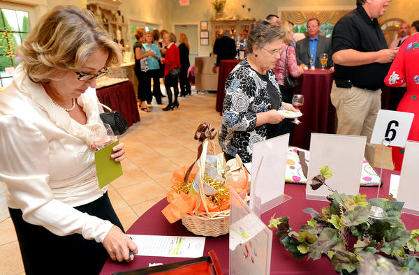 Sally Vogel, left, of Bethesda, Md., and Dixie Benedict, right, of Williamsport, look over silent auction Items during the Grapes for Girls fundraiser for Girls Inc. of Washington County at Courtland Mansion in Hagerstown.