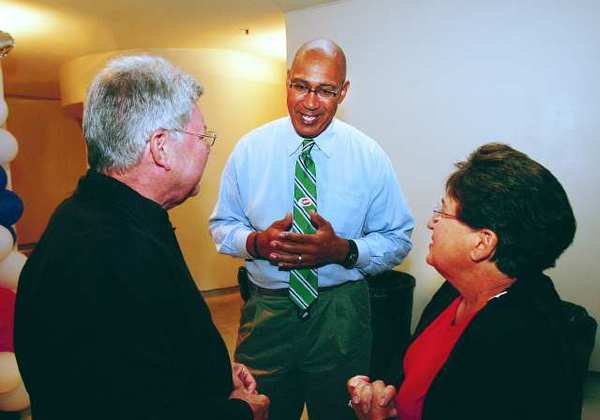 Candidate Chris Holden talks with supporters at the Pasadena Museum of California Art where the Pasadena councilman held his primary election campaign party for his bid for California Assembly Distrcit 41 on June 5, 2012.