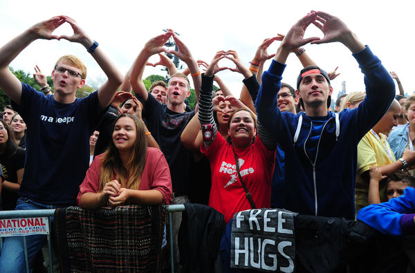 People participate in the Global Citizen Festival, a mass music concert and event to urge world leaders to act towards ending extreme poverty, in Central Park in New York.