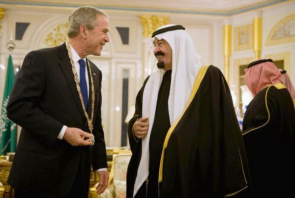 President George W. Bush (left) had a close relationship with Saudi Arabian King Abdullah, shown here in 2008 at his fabulous palace in Riyadh presenting a special award to Bush.