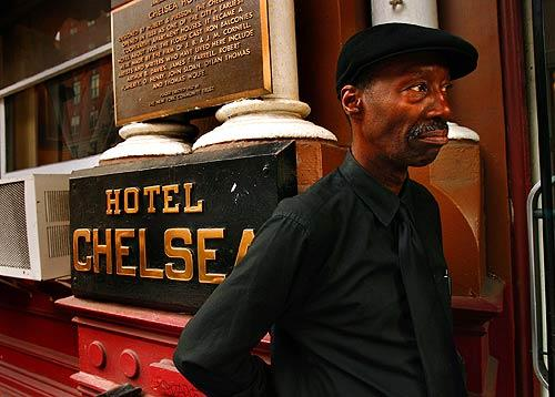 The doorman of New York's legendary Chelsea Hotel has worked there for more than 20 years. The bohemian landmark is currently the subject of a power struggle between residents and management.