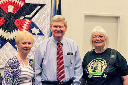 U.S. Sen. Tim Johnson, center, recently met with Jane Hawk of Yankton, left, and Betty Sheldon, right, of Aberdeen. Jane and Betty are sisters and were visiting Washington, D.C., in honor of Jane¿s 75th birthday.