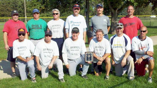 The over-35 14-inch league champions for 2012 are, front row from from left: Dave Bunt, Pat Murphy, Dave Nikolas, Dan Grewe, Rob Moore and Danny Godel. Back row, from left: Doug Heinz, Sea Atwood, John Cornelius, Kevin Johnson, Greg Heier and Mike Lenling.