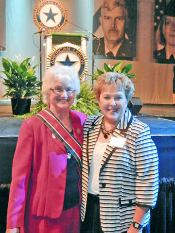 Barb Vetter of Cresbard, right, president of the South Dakota American Legion Auxiliary, met with Peggy Thomas, left, the president of the American Legion National Auxiliary, during the national convention in Indianapolis in August.