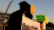 Protesters of a wind energy project just outside of Ocotillo