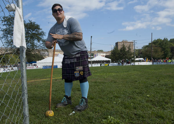 Matt Vincent of Baton Rouge, Louisiana - prepares to compete in the 22 lb hammer throw at the Celtic Classic Highland Games and Festival in Bethlehem on Sunday. Vincent placed first in the event, and threw just one inch short of the world record.