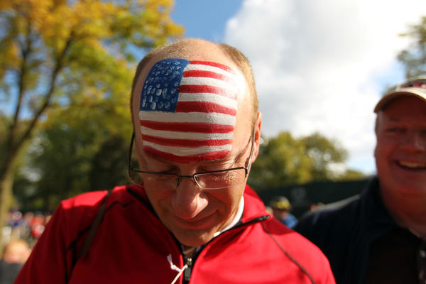 David Saltzman of Northbrook, Ill. had an American flag painted on his head before final day of Ryder Cup at Medinah Country Club in Medinah on Sunday, Sept. 30, 2012.