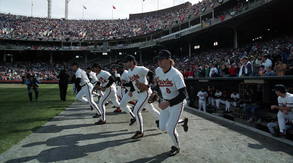 The Orioles take the field for their last game at Memorial Stadium on Oct. 6, 1991.