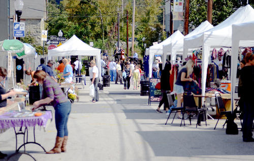 The view looking down Sulgrave Avenue in Mount Washington during its annual fall block party.