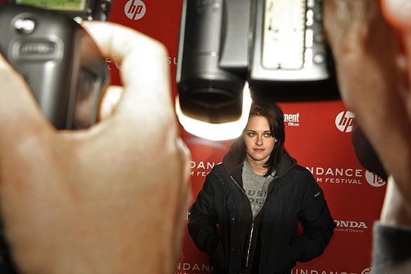 "Actress Kristen Stewart at  the premiere of her new film,  ""The Runaways,"" at Eccles Theatre in Park City, Utah. Stewart plays the role of Joan Jett in the film about the 1970s all-female rock band."