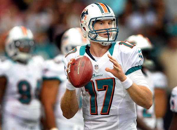 Miami Dolphins quarterback Ryan Tannehill throws during pre-game warmups.