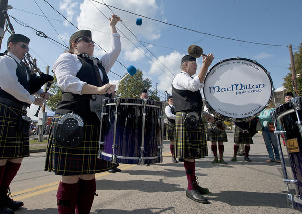 Members of the MacMillan Pipe Band of Rockville Maryland rehearse during the Celtic Classic Highland Games and Festival in Bethlehem on Sunday.