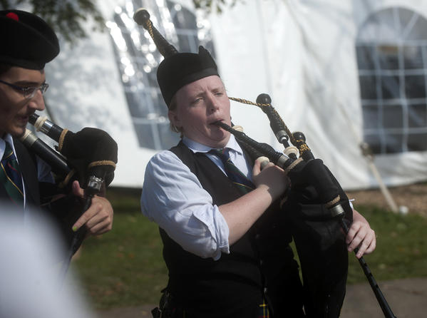 Kayla Harper of Laurel, Maryland, rehearses with members of the MacMillan Pipe Band of Rockville Maryland during the Celtic Classic Highland Games and Festival in Bethlehem on Sunday.