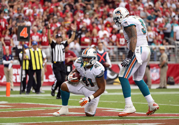 Fullback Jorvorskie Lane #41 of the Miami Dolphins reacts after scoring on a 1 yard rushing touchdown against the Arizona Cardinals during the second quarter of the NFL game at the University of Phoenix Stadium