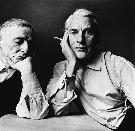 Penn photographed theater designer, artist and architect Frederick Kiesler, left, with abstract expressionist artist Willem de Kooning in New York in 1960.