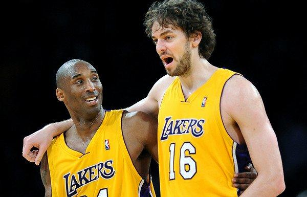 Lakers stars Kobe Bryant and Pau Gasol (16) could have plenty of reasons to smile this season with the addition of point guard Steve Nash and center Dwight Howard.