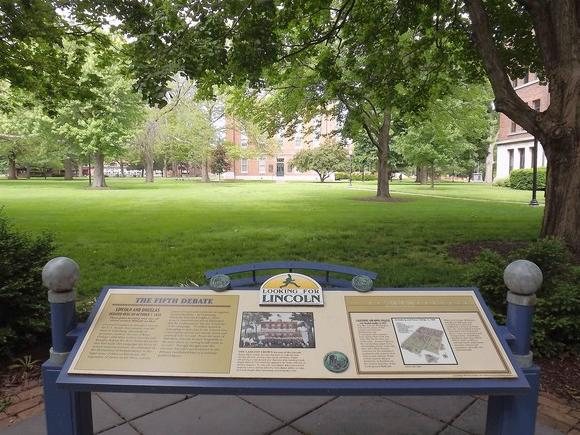 A historical marker in front of Old Main, on the Knox College campus, marks the site of a famous debate between Abraham Lincoln and Stephen Douglas.