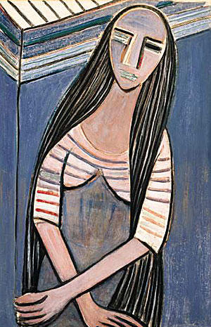 "Wifredo Lam's ""Woman With Long Hair, I"" dates from 1938."