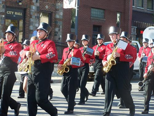 The East Jordan High School band drummed up support in a parade through downtown before the East Jordan varsity football team took on Boyne City in their homecoming game.