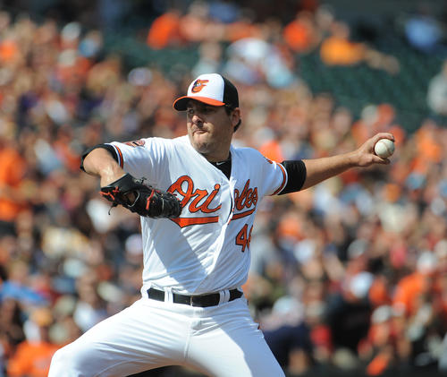The Orioles rotation was rock solid again last week, delivering four quality starts in seven games and a couple more by Steve Johnson that didn't qualify because he only pitched five innings in each of his two performances. Veteran Joe Saunders (pictured) also pitched twice and took the club into the seventh inning against the Blue Jays and the eighth inning in Sunday's final regularly scheduled home game. The only pitcher who struggled was Wei-Yin Chen, who was not sharp in a loss to the Jays. Overall, the rotation posted a 4-2 record and 3.50 ERA in a week when a lot was on the line.<br> <br> <b>Grade</b>: B