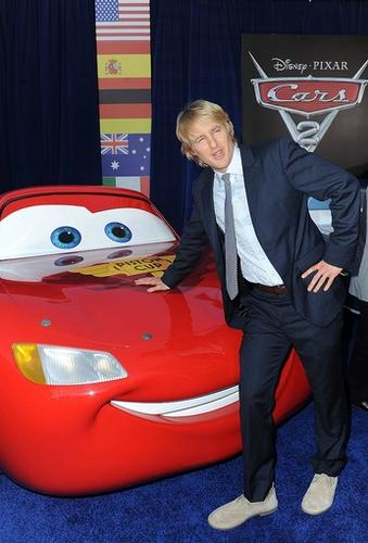 """Owen Wilson and the voice cast of """"Cars 2"""" gathered Saturday at the El Capitan Theater in Hollywood to celebrate the opening of their long-awaited Pixar sequel. This time around, Wilson's character, Lightning McQueen, heads overseas to compete in the World Grand Prix race."""