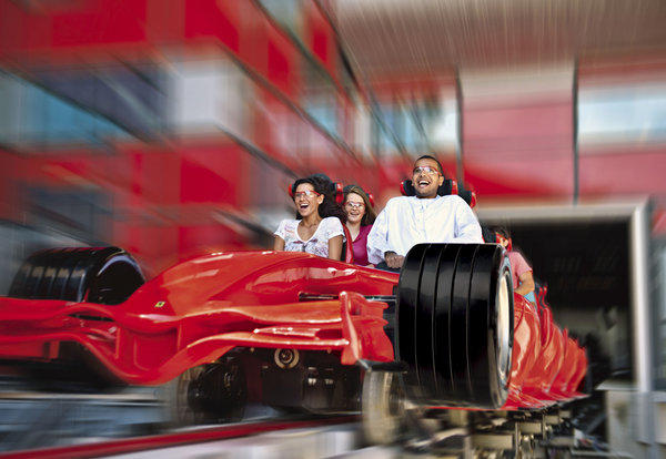 Formula Rossa, at Ferrari World in Abu Dhabi, is so fast -- reaching speeds of up to 149 mph -- that riders are required to wear goggles to protect them from flying dust.