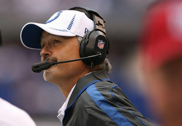 Indianapolis Colts coach Chuck Pagano coaching on the sidelines against the Jacksonville Jaguars at Lucas Oil Stadium.