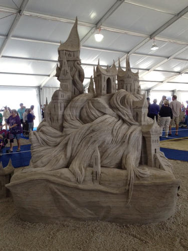 Sand sculpture contest entries at the 2012 Neptune Festival in Virginia Beach.