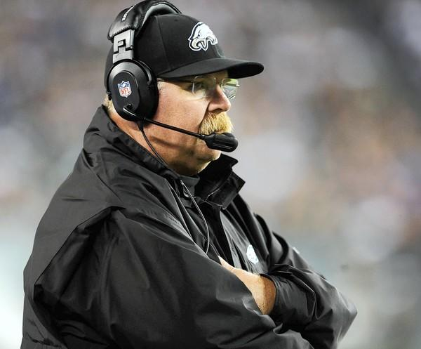 Philadelphia Eagles head coach Andy Reid watches against New York Giants at Lincoln Financial Field in Philadelphia on Sunday, September 30, 2012.