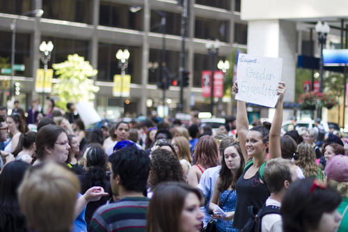 SlutWalk participants gather and celebrate in Daley Plaza (118 North Clark) on Saturday, September 29, 2012.