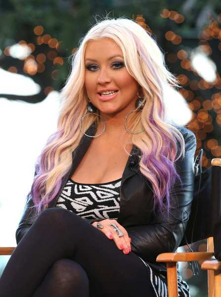 "Christina Aguilera speaks onstage during NBC Universal's ""The Voice"" press junket."