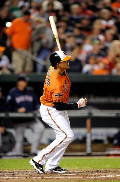 The O's have lived and died by the home run. At the end of September, they were second in all of Major League Baseball with 211 homers as a team, trailing only the New York Yankees with 236. <br><br> But this last month has seen a bit of a power surge, with the Orioles behind only the Washington Nationals in homers and slugging percentage. While it's no surprise to see Chris Davis smash five bombs in four games, as he did recently, the power has been coming from some unexpected places, too, such as rookie third baseman Manny Machado (above; three dingers in four games), Nate McLouth (five of his seven homers have come in September) and Ryan Flaherty (.773 slugging percentage in 22 September at bats). <br><br> If the regular mashers keep launching the ball, and the homers and extra-base hits continue to come from other regulars, the Orioles could be dangerous.