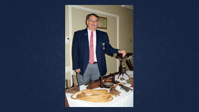 William L. Lehman spoke about colonial surveying in Pennsylvania and on the Mason Dixon Line at the Forbes Road Chapter of the Daughters of the American Revolution Constitution Banquet.