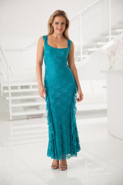 Coconut Creek's Sara Mique gown illustrates the hot hues this fall/winter, which will be turquoise, cobalt blue, jade, emerald, ruby, brick, citrine and plum.