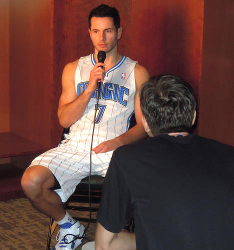 Orlando Magic guard J.J. Redick gives an interview at the 2012 Orlando Magic Media Day at Amway Center in Orlando, Florida.