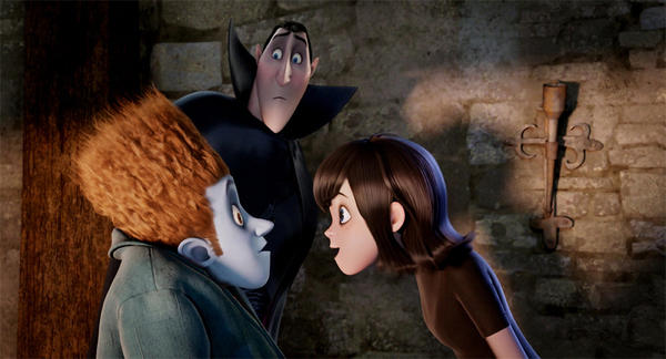 Count Dracula (voiced by Adam Sandler) tries to keep the human Johnny (voiced by Andy Samberg) away from his daughter, Mavis (voiced by Selena Gomez) in Adam Sandlers Hotel Transylvania.
