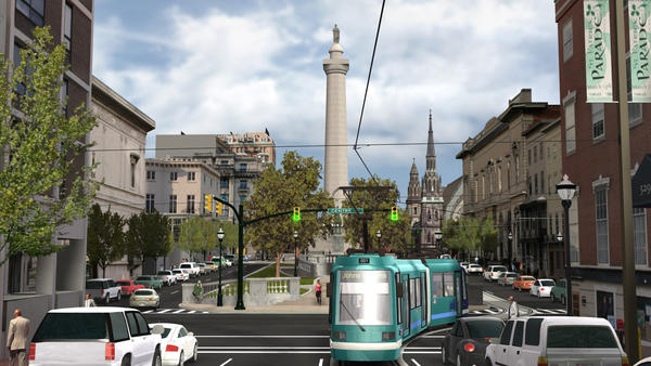 An artist's rendering of the proposed streetcar for the Charles Street corridor.