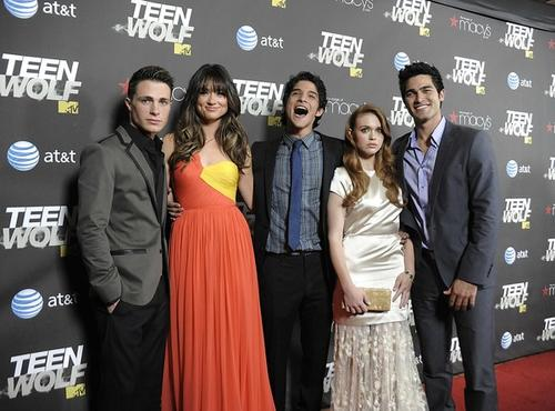 """""""Teen Wolf"""" stars Colton Haynes, left, Crystal Reed, Tyler Posey, Holland Roden, and Tyler Hoechlin at the premiere of their MTV TV show. The series, which shares the same name as the Michael J. Fox 1985 comedy movie from which it's based, centers on newly minted werewolf Scott McCall (Posey), who now has this to deal with on top of the average teen angst of relationships, school and sports."""