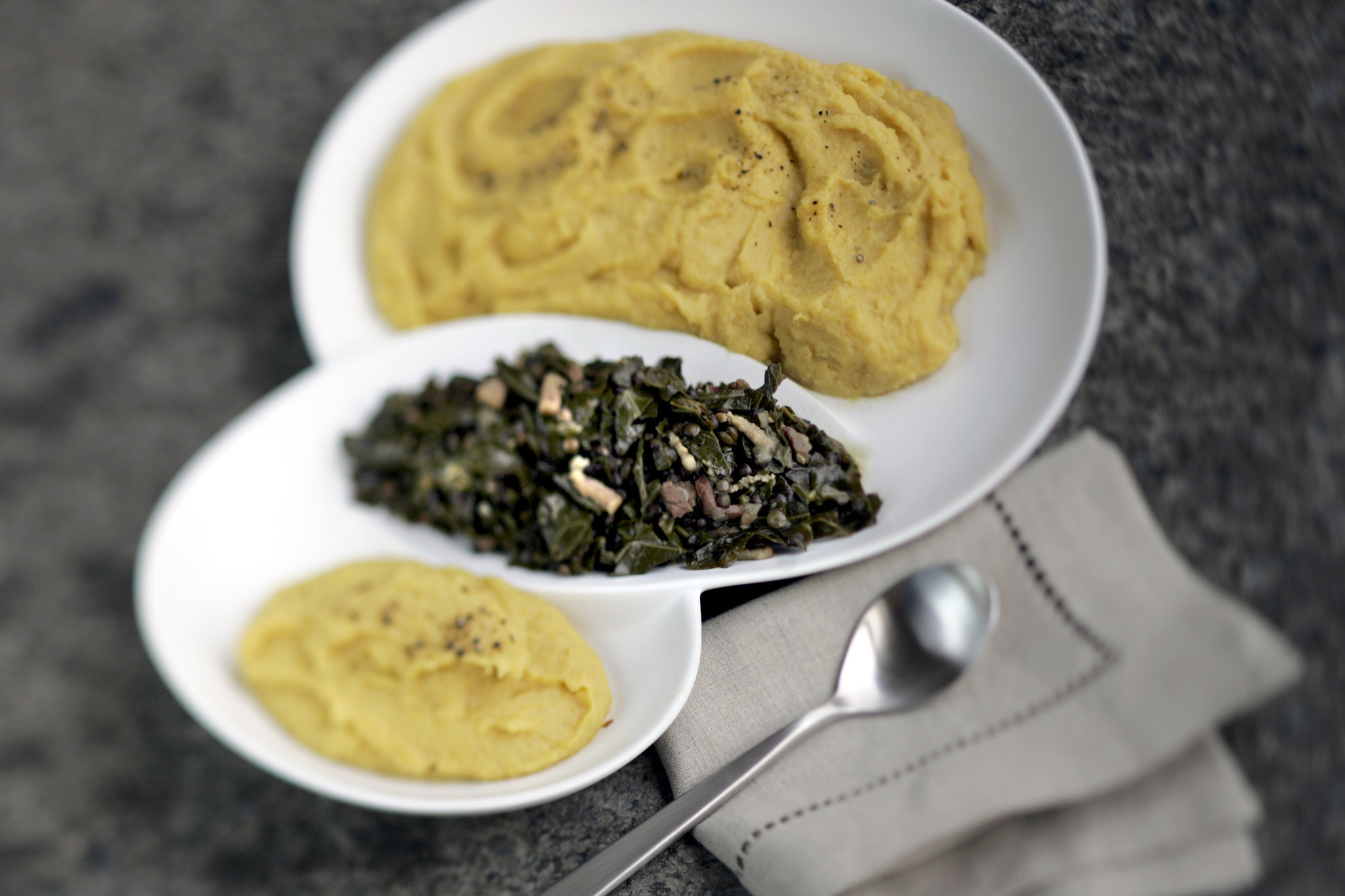 Photos: 97 great Thanksgiving recipes - Spiced sweet potato puree and collard greens and green lentils