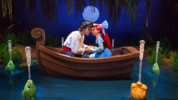 "The ""Kiss the Girl"" scene from the Little Mermaid: Ariel's Undersea Adventure ride at Disney California Adventure"