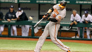 Orioles right fielder Chris Davis continued his recent tear at the plate Monday night in the Orioles' 5-3 loss to the Tampa Bay Rays at Tropicana Field.