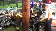 Baltimore City rescuers extricate trapped driver from car