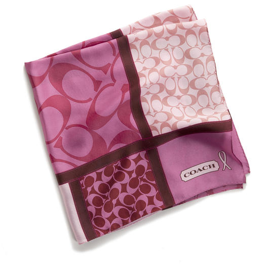 Breast Cancer Awareness Month gifts include the Coach BCA Signature Patchwork Scarf.