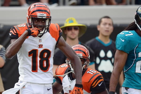 Cincinnati Bengals wide receiver A.J. Green (18) gestures after catching a touchdown pass while defended by Jacksonville Jaguars cornerback Rashean Mathis (27) during the fourth quarter at Everbank Field.