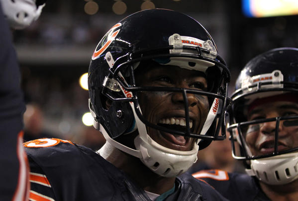 Chicago Bears receiver Brandon Marshall (15) celebrates a fourth quarter touchdown against the Dallas Cowboys. The Bears routed the Cowboys on Monday Night Football.