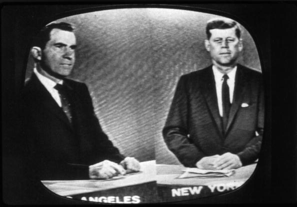 Photos: Memorable presidential debate moments: The first nationally televised debate in 1960 set the precedent for all presidential debates to come, pitting the photogenic John F. Kennedy against the visibly run-down Richard Nixon. Though radio listeners famously ruled that Nixon won the debates, the 70 million viewers who saw the debates on TV thought that Kennedy won out over the weary, recently hospitalized Nixon. The debates played such a prominent role in Nixons eventual loss that it wouldnt be until 1976 that presidential candidates would agree to another televised debate. (Los Angeles Times)