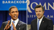 Jay Pharoah as Barack Obama and Jason Sudeikis as Mitt Romney