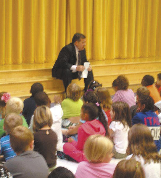 Clayton Wilcox, superintendent of Washington County Public Schools, recently visited first-graders at Salem Avenue Elementary School. The children were learning about the Character Counts! pillars, which are trustworthiness, respect, responsibility, fairness, caring and citizenship. Wilcox talked to the students and told them how he tries to use the Character Counts! pillars every day in his job as the head of the public school system.